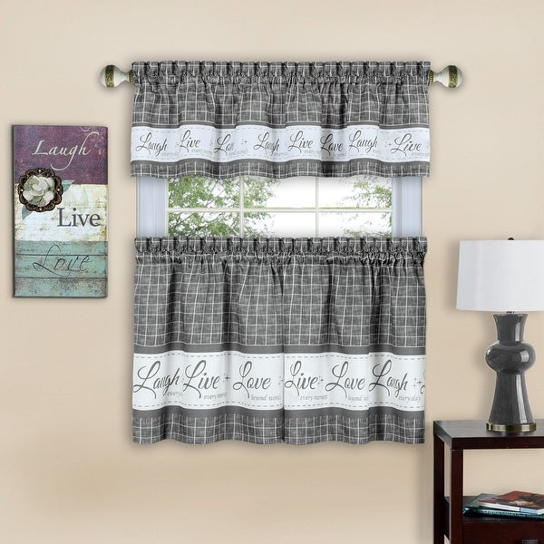 Live Laugh Love 3 Piece Kitchen Curtain Set Tiers 58x36 Swag 58x14 Inches