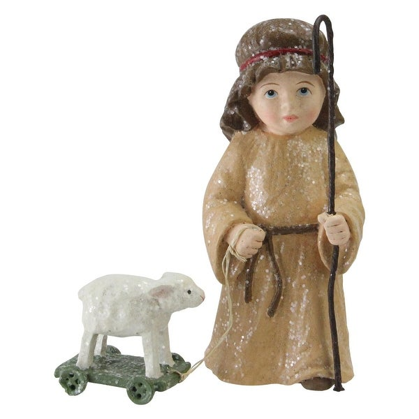 "4.25"" Boy Shepherd With White Lamb Christmas Nativity Decoration - brown"