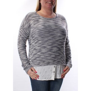 Womens Gray Long Sleeve Jewel Neck Casual Sweater Size S