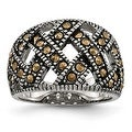 Chisel Stainless Steel Textured Marcasite Ring (13 mm) - Thumbnail 0