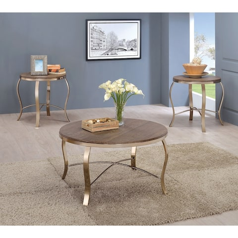 Furniture of America Fays Glam Gold 3-piece Round Accent Table Set
