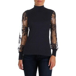 Vince Camuto Womens Mock Turtleneck Sweater Lace Sleeve Rib Knit