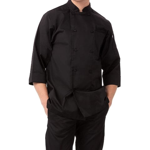 Chef Works Mens Work Shirts Black Size Large L Chef Double-Breasted