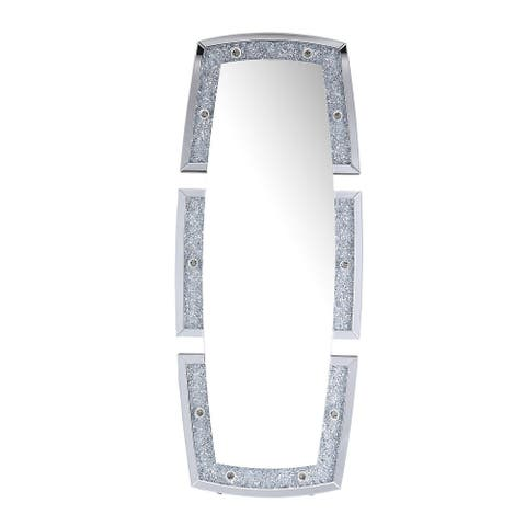 Split Edged Contemporary Accent Floor Mirror with Faux Diamond Inlay,Silver