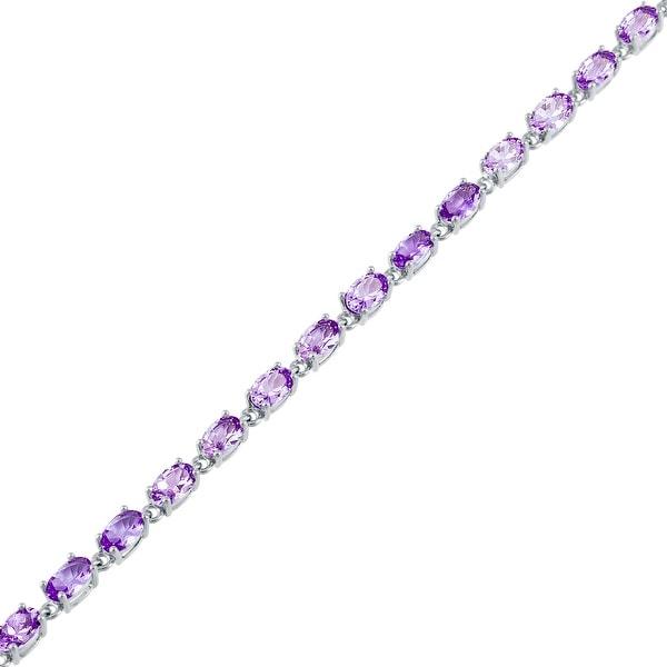 Oval-Cut Birthstone Gemstone Tennis Bracelet, Sterling Silver. Opens flyout.
