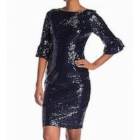 Marina Navy Blue Womens Size 8 3/4 Bell Sleeve Sequin Sheath Dress