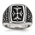 Stainless Steel IP Black Plated Cross Men's Ring - Thumbnail 0