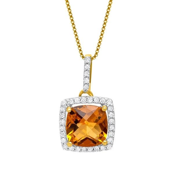 1 1/4 ct Citrine & 1/8 ct Diamond Pendant in 10K Gold - Yellow