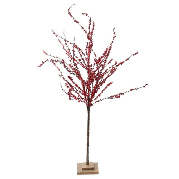 """50"""" Festive Red Berries Artificial Christmas Tree Decoration - Unlit - brown"""