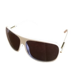Levi Sunglass Mens White Rectangle Plastic Wrap, Solid Smoke Lens LS172 2 - Medium