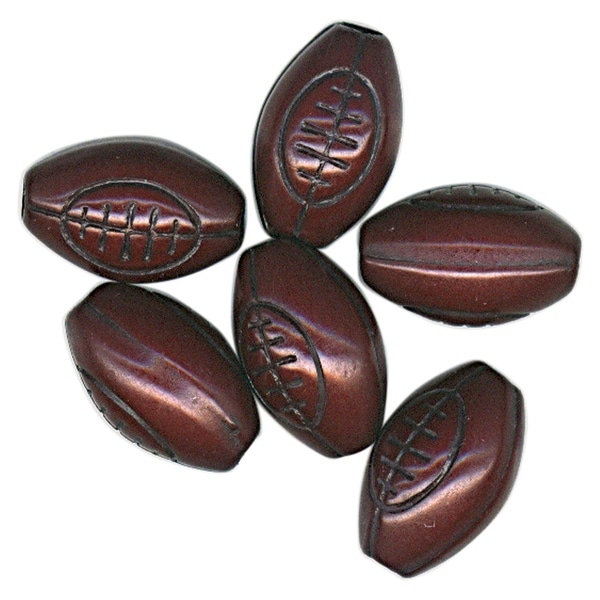 Team Sports Beads 12mm-Football 10/Pkg