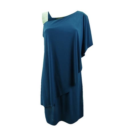 R&M Richards Women's One-Shoulder Rhinestone-Embellished Dress - Peacock