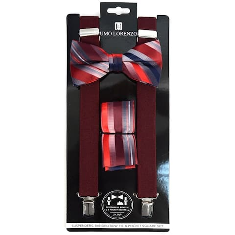 Men's 3 PC Clip-on Suspenders, Bow Tie & Hanky Sets - Regular