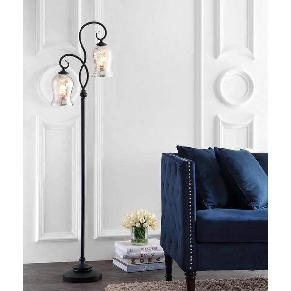 "Safavieh Lighting 64-inch Claudia Bronze LED Floor Lamp - 16"" x 9.8"" x 63.5"". Opens flyout."