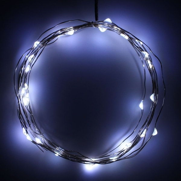 Battery Powered Fairy LED Wire String Lights - 10ft 30LEDs Copper Wire White Starry Lights, Waterproof, Battery Box THL-12