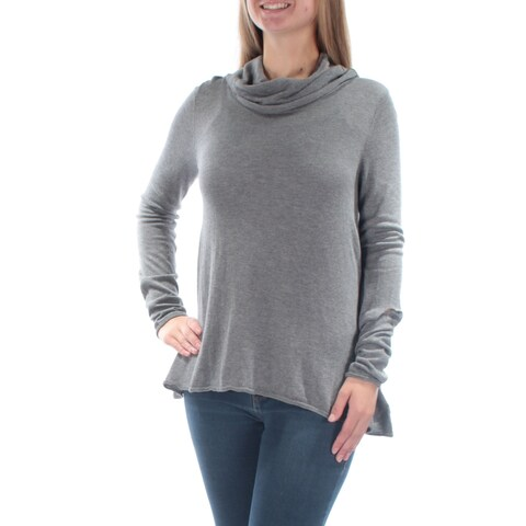 Womens Gray Long Sleeve Turtle Neck Casual Top Size S