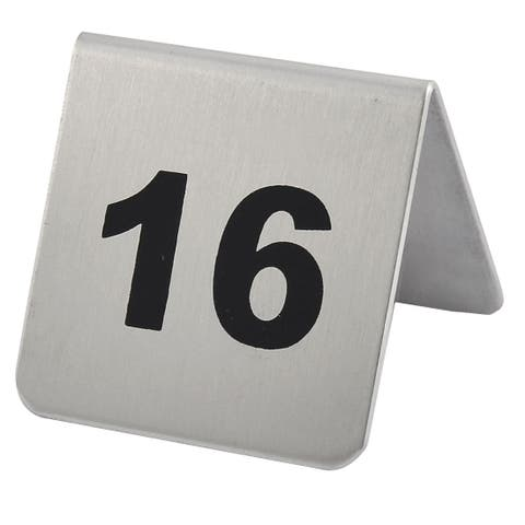 Restaurant Stainless Steel Free-standing Number 16 Table Sign Black Silver Tone