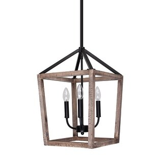 Rustic Weathered Oak Wood 3-Light Pendant Lighting Chandelier