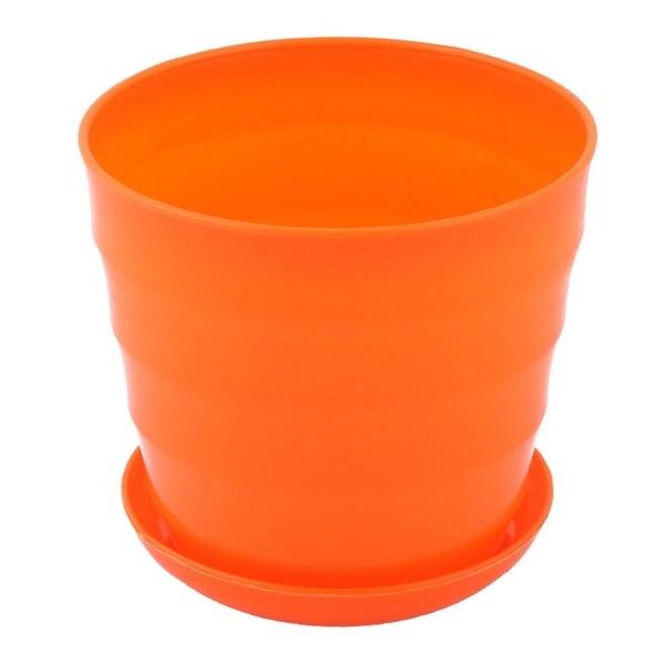 Yard Garden Plastic Round Plant Succulent Holder Flower Pot Container Orange
