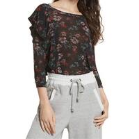 Free People Black Women's Size Small S Floral Ruffle Trim Blouse