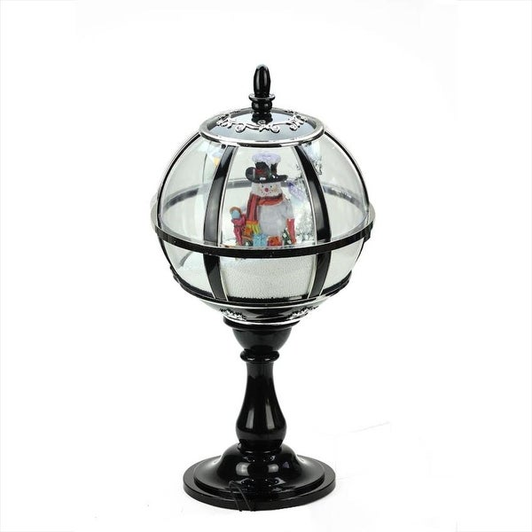 """23.5"""" Black Lighted Musical Snowing Snowman Christmas Table Top Street Lamp"""
