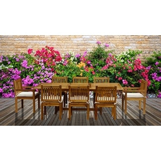 Link to Chic Teak 9 Piece Rectangular Teak Wood Elzas Table/Chair Set With Cushions Similar Items in Patio Furniture