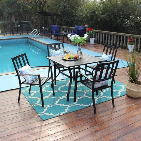 """PHI VILLA 5 Piece Metal Outdoor Indoor 37"""" Square Dining Table and Arm Chairs - Umbrella Hole 1.57"""""""
