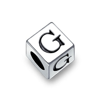 Bling Jewelry 925 Sterling Silver Block Letter G Bead Charm