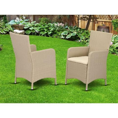 HLUC153V Outdoor Wicker Patio Chair in Cream Finish