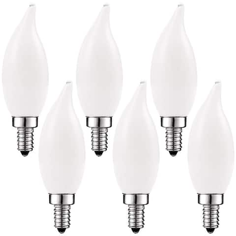 Luxrite 4W Frosted Candelabra LED Bulbs Dimmable, 2700K Warm White, 360 Lumens, 40W Equivalent, E12 Base (6 Pack)