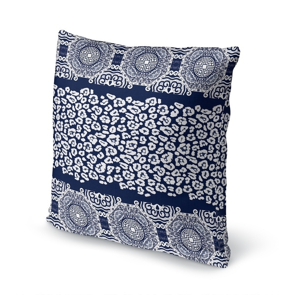 Shop MINGLEOPARD NAVY & WHITE Accent Pillow By Kavka Designs - Overstock - 31734324
