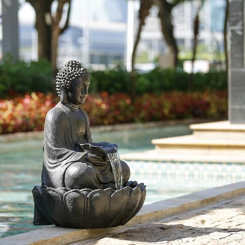 """24x21x34"""" Polyresin Buddha Fountian"""