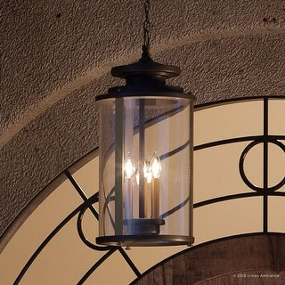 "Luxury Rustic Outdoor Pendant Light, 20.25""H x 9.875""W, with Colonial Style Elements, Olde Bronze Finish by Urban Ambiance"