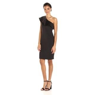 Calvin Klein Women's One Sheath Dress With Dramatic Ruffle Shoulder, Black, 10P