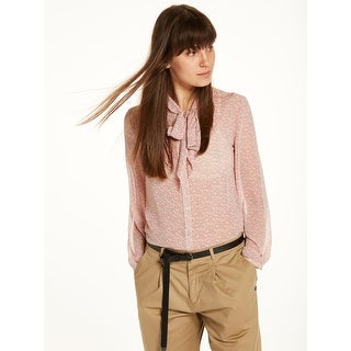 Sheer Bow Neck Blouse - Pink