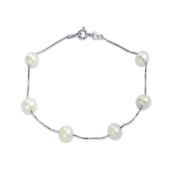 d0734e9c8f256 Bridal Station Tin Cup White Freshwater Cultured Pearl Round Link Bracelet  For Women 925 Sterling Silver