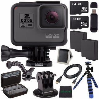 GoPro HERO5 Black CHDHX-501 + Replacement Lithium Ion Battery For GoPro Hero5 + 32GB microSD Card + 64GB Card Bundle