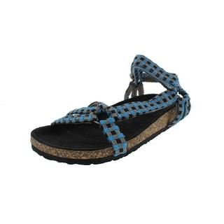 C Label Womens Iria-3 Woven Checkered Sport Sandals