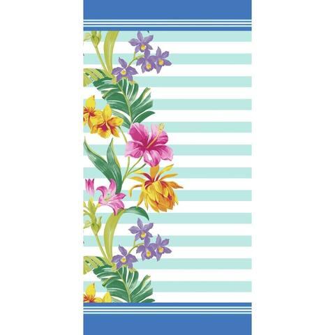 Floral & Stripes 30x60 Brazilian Velour Beach Towel