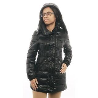 Schott N.Y.C Women long Puffer Jacket Puffer Black