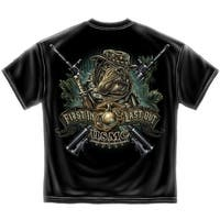 First In Last Out Bulldog Guerrilla Marine Corps Military T-Shirt