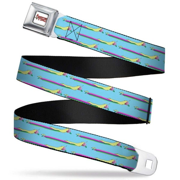 Adventure Time Logo White Full Color Lady Raincorn Stretch Baby Blue Seatbelt Belt