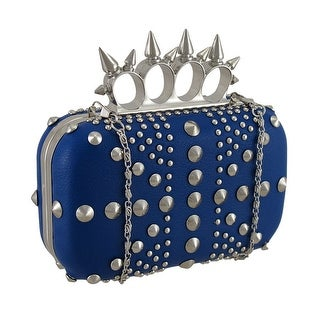 Studded Hardshell Clutch Purse w/Spiked Knuckle Duster Handle