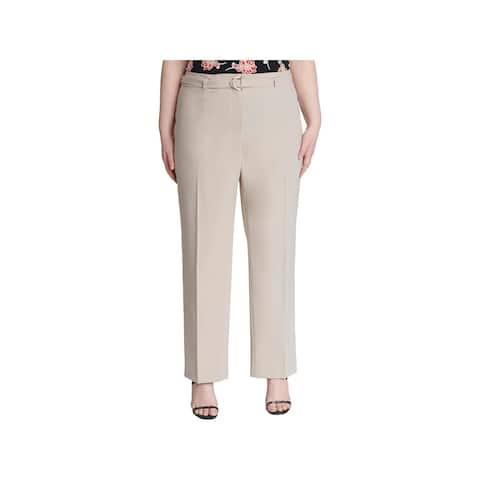 Calvin Klein Womens Plus Straight Leg Pants Mid-Rise Business