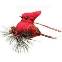 4.75 in. Burlap & Plaid Cardinal on Pine Sprig Christmas Ornament