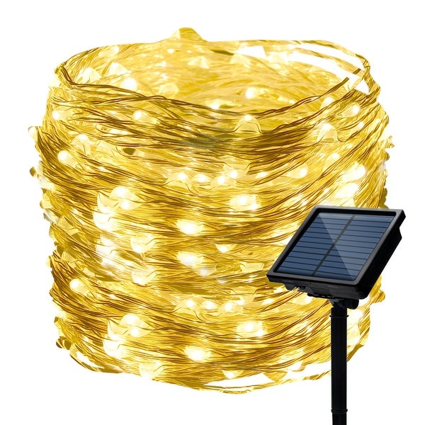 33ft 100 LED Solar Powered String Light with 8 Flashing Mode Starry Copper Wire