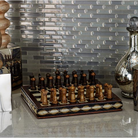 Traditional 3 X 10 Inch Resin Chess Set by Studio 350 - Brown
