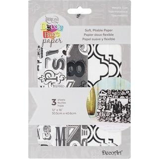 "Decoupage Paper 12""X16"" 3/Pkg-Metallic Type"