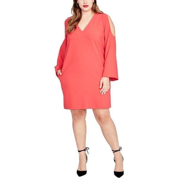 Rachel Roy Womens Plus Wear to Work Dress V-Neck Bell Sleeve