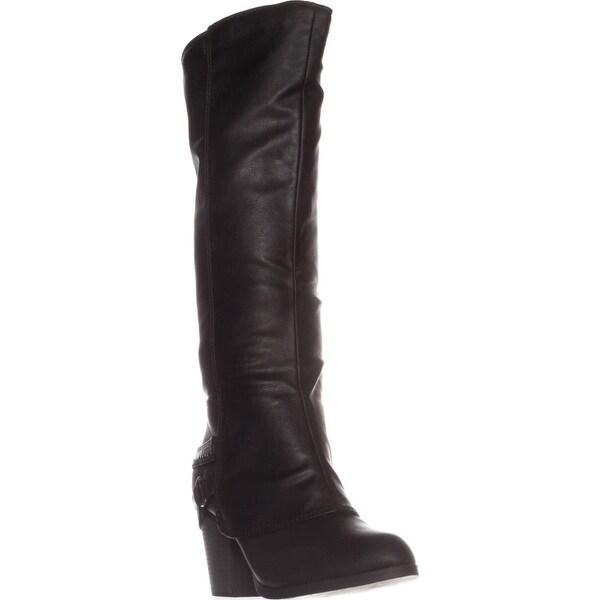 AR35 Edyth Block-Heel Knee-High Boots, Black